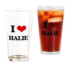 I Love Halie Drinking Glass