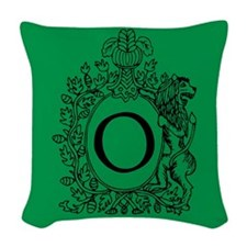 Letter O Green Monogram Initial Woven Throw Pillow