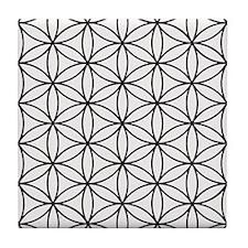 Flower Of Life Ptn Bw Tile Coaster