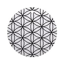 Flower of Life Ptn BW Ornament (Round)