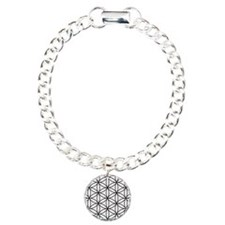 Flower of Life Ptn BW Charm Bracelet, One Charm
