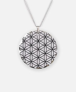 Flower of Life Ptn BW Necklace Circle Charm