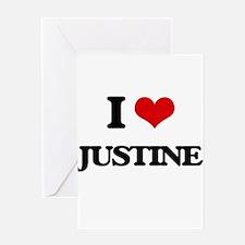 I Love Justine Greeting Cards