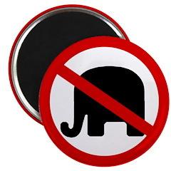 Red Slash Through a GOP Elephant Magnet