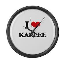 I Love Karlee Large Wall Clock