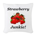 Strawberry Junkie Woven Throw Pillow