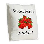 Strawberry Junkie Burlap Throw Pillow