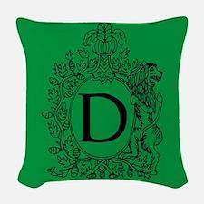 Letter D Green Monogram Initial Woven Throw Pillow
