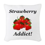 Strawberry Addict Woven Throw Pillow