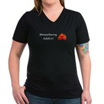 Strawberry Addict Women's V-Neck Dark T-Shirt