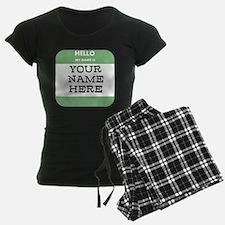 Custom Green Name Tag Pajamas