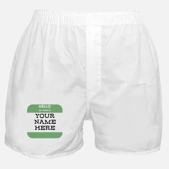 Custom Green Name Tag Boxer Shorts