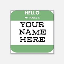 Custom Green Name Tag Sticker