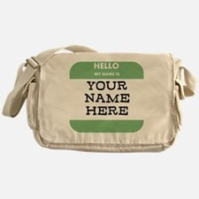 Custom Green Name Tag Messenger Bag
