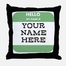 Custom Green Name Tag Throw Pillow
