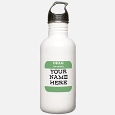 Custom Green Name Tag Water Bottle
