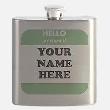 Custom Green Name Tag Flask