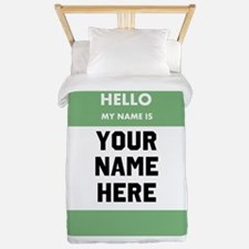 Custom Green Name Tag Twin Duvet