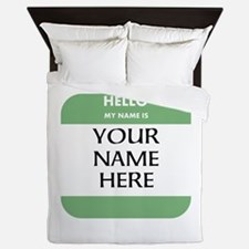 Custom Green Name Tag Queen Duvet