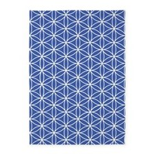 Flower Of Life Ptn W/blu 5'x7'area Rug