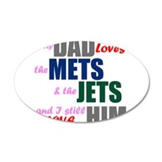 My Dad Loves the Mets & Jets Wall Decal