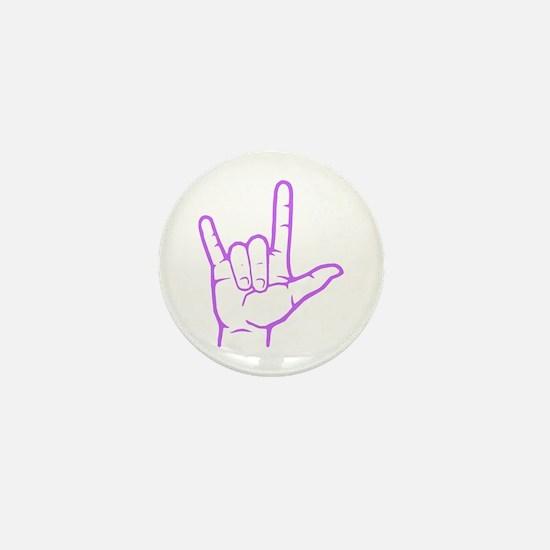 Purple I Love You Mini Button