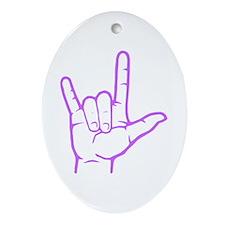Purple I Love You Oval Ornament