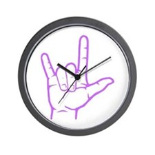 Purple I Love You Wall Clock
