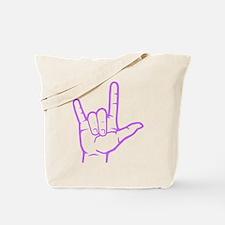 Purple I Love You Tote Bag