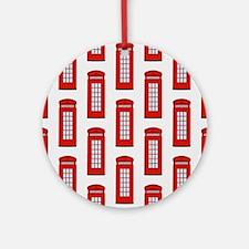 British Red Telephone Box Pattern Ornament (Round)
