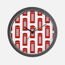 British Red Telephone Box Pattern Wall Clock