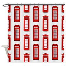 British Red Telephone Box Pattern Shower Curtain