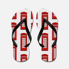 British Red Telephone Box Pattern Flip Flops