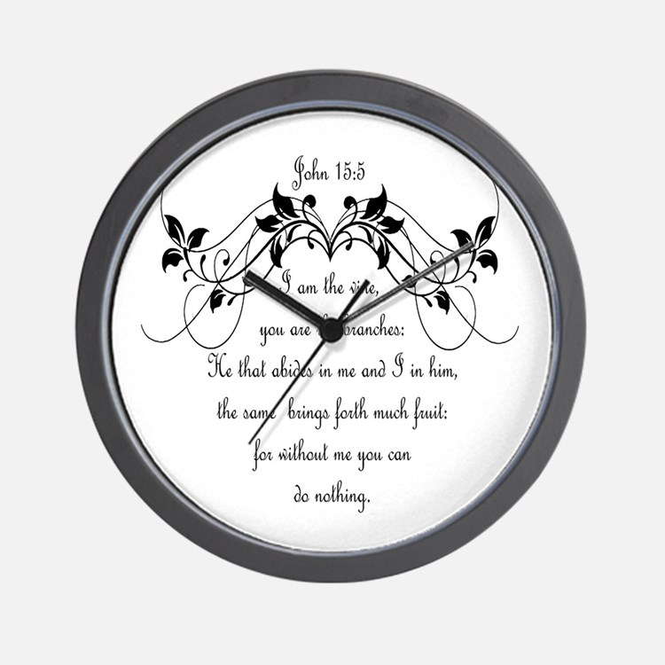 I am the vine Bible Scripture John 15:5 Wall Clock
