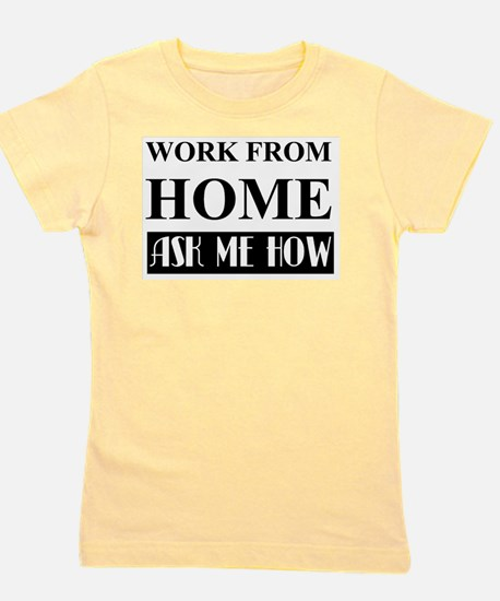 Work from home bw Girl's Tee