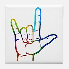 Rainbow Burst I Love You Tile Coaster