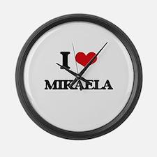 I Love Mikaela Large Wall Clock