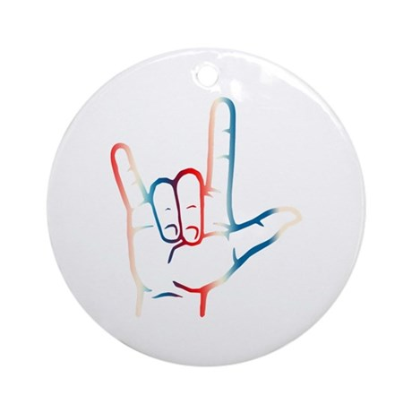 Red White Blue I Love You Ornament (Round)