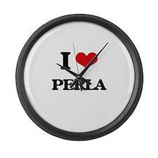 I Love Perla Large Wall Clock