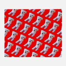 Red Maltese Cutie Fluffy 47 Repetiti Throw Blanket