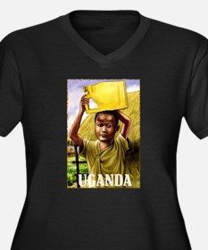 Vintage Uganda Art Women's Plus Size V-Neck Dark T