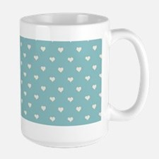 Robins Egg Blue Mini Hearts Retro Pattern Mugs