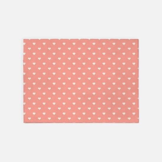 Salmon, Coral Mini Hearts Retro Pattern 5'x7'Area