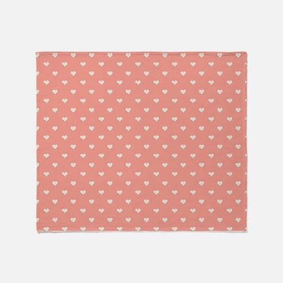 Salmon, Coral Mini Hearts Retro Pattern Throw Blan
