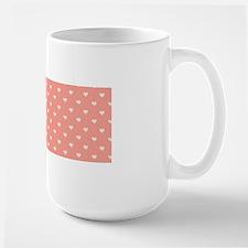 Salmon, Coral Mini Hearts Retro Pattern Mugs
