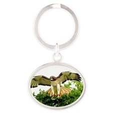 Texas Red Tail Hawk Oval Keychain
