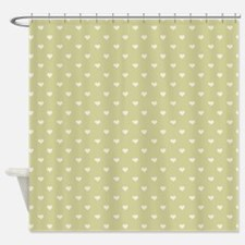 Sage Green Mini Hearts Retro Pattern Shower Curtai