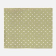 Sage Green Mini Hearts Retro Pattern Throw Blanket