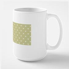 Sage Green Mini Hearts Retro Pattern Mugs