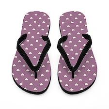 Purple Mini Hearts Retro Pattern Flip Flops